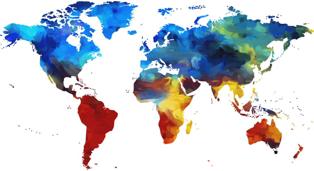 Image of globe with various colors