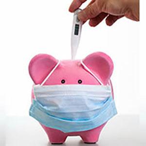Piggy bank wearing a mask